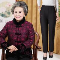 中老年女装加绒加厚大码中年妈妈装老年人棉衣冬装喜庆奶奶装 +裤子