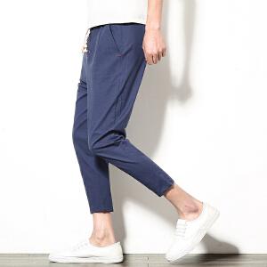 男春亚麻裤九分休闲裤时尚新款男士夏季裤子款式裤子