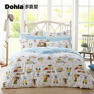 多喜爱床上用品全棉床单被罩三/四件套儿童卡通全棉套件萌宠乐园