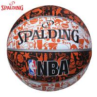 斯伯丁篮球涂鸦系列街头橡胶lanqiu水泥地耐磨室外l篮球