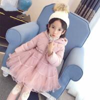 女童冬装棉衣中长款2018新款儿童韩版公主羽绒棉袄外套秋冬季 藕粉色 现货,
