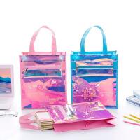 镭射透明拉链补课补习包男女小学生用装书手提文件袋美术作业袋