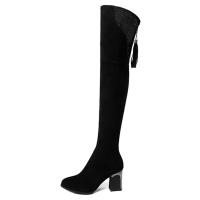 弹力绒长靴女粗跟中跟鞋子套筒过膝长筒靴欧美圆头时装靴秋冬单靴 黑色