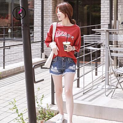 欧若珂  2018夏宽松大件刺绣字母学院范个性百搭短袖T恤女
