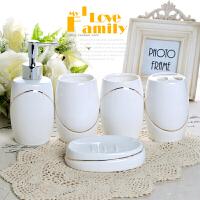欧式卫浴五件套陶瓷洗漱浴室用品套装牙刷杯漱口杯盒套件新婚礼品Cn