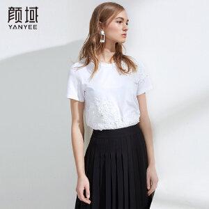 品牌女装2018夏新款欧美女士短袖T恤女白色个性贴花圆领体恤上衣