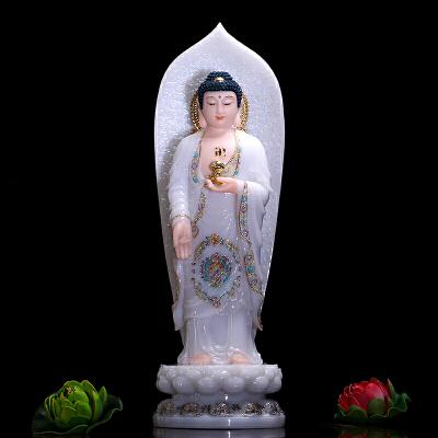 佛具汉白玉西方三圣珐琅彩绘观音佛像摆件观世音菩萨阿弥陀佛
