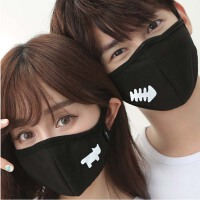 卡通骑行男女棉可爱防晒透气黑色口罩 个性情侣防尘口罩