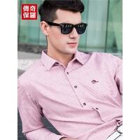 传奇保罗小格子衬衫男长袖2018秋季新款青年纯棉红色方领休闲衬衣S18Q008