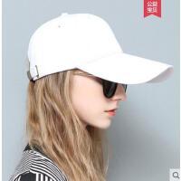 春天女士加长檐棒球帽潮夏出游防晒遮阳韩版纯白色黑色鸭舌帽子