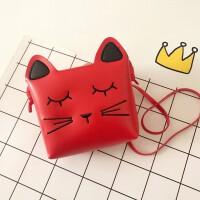 韩版儿童包包可爱公主时尚斜挎包卡通女童小包宝宝零钱包 红色小 小猫
