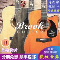 ?布鲁克吉他S25云杉面单板复古原木色40寸41寸电箱缺角民谣
