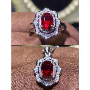 缅甸红宝石套装,经典戴妃款