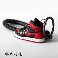 迷你汽车aj1钥匙扣挂件饰模型链篮球鞋模男生创意小书包乔丹情侣
