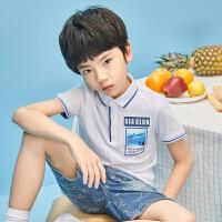 【1件2.5折到手价:47.3】米喜迪童装男童polo左胸照片印短袖t恤19夏新款
