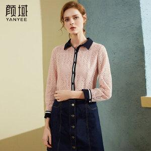 颜域品牌女装2018春秋季新款拼接粉色衬衫宽松职业衬衣镂空蕾丝衫