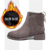 短靴女春秋冬季2018新款加绒小粗跟真皮磨砂平底切尔西靴马丁单靴SN4913