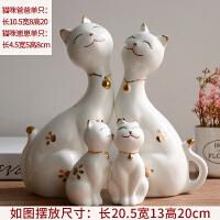北欧客厅小摆件电视柜酒柜装饰品摆件家居招财猫创意陶瓷结婚礼物