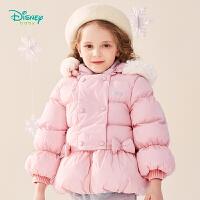 迪士尼Disney童装 女童保暖棉外套可拆卸连帽棉服冬季新品三层夹棉衣服甜美可爱194S1137