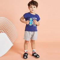 【1件2.5折到手价:42.3】moomoo童装男幼童短袖套装夏装新款小童男宝宝可爱印花棉套装