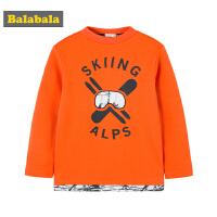 巴拉巴拉男童T恤长袖2018新款秋冬中大童儿童休闲圆领加绒上衣厚