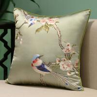 红木沙发抱枕中式靠垫中国风刺绣花鸟客厅大号靠枕被子两用腰枕套