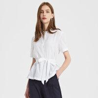 【1件3折到手价:117】MECITY女装夏季新款白色修身很仙的洋气短袖束腰衬衫