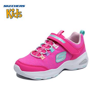 斯凯奇童鞋 (SKECHERS)女童鞋 魔术贴休闲鞋 轻便透气运动鞋女S664088LAO3-PKMT 粉红色/多彩色(4岁—12岁以上)斯凯奇秋季上新