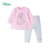 迪士尼Disney 女童套装肩开扣新款秋装公主可开档宝宝小飞袖休闲t恤裤子183T831