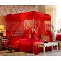大红色婚庆三开门不锈钢蚊帐加密1.8米2.0m床结婚房睡帐帐子