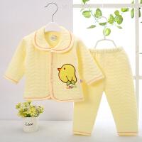 0-6-9个月初生宝宝春秋冬季薄棉保暖套装新生婴幼儿夹棉家居衣服