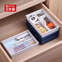 inomata日本进口手提式桌面收纳盒小箱子储物盒迷你 可叠加整理盒