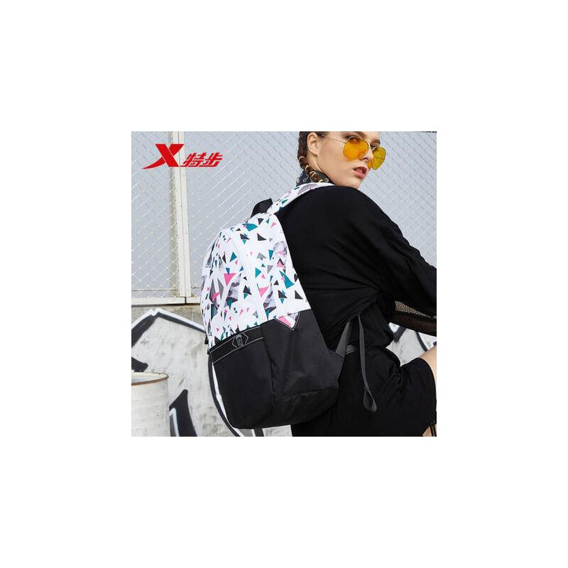特步双肩包2019新款几何图案拼接撞色男包女包时尚韩版书包旅行包 长 宽 高 470*310*170mm 仅供参考