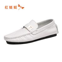 【红蜻蜓抢购,抢完为止】红蜻蜓真皮男单鞋春季新款时尚潮流套脚休闲男鞋软面舒适