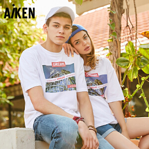 Aiken爱肯2018夏季新款T恤运动大码男女情侣原创圆领印花时尚体恤