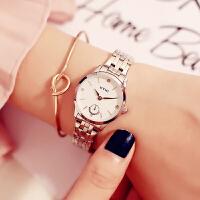 艾奇EYKI简约韩版女士钢带防水石英手表镶钻女生腕表学生手表2021