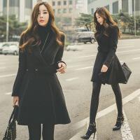 收腰呢子大衣女中长款韩版2018新款秋冬款仿羊绒冬天毛呢外套女加厚 黑色