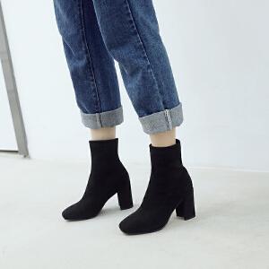 ZHR方头短靴粗跟瘦瘦靴网红裸靴单靴女靴子潮秋冬季2018新款