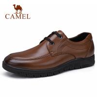 camel骆驼男鞋 秋季新款商务正装牛皮鞋厚弹底系带休闲鞋爸爸鞋