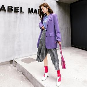 七格格宽松紫色秋季西装女士新款休闲外套早秋英伦时尚复古气质薄款