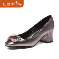 【领�幌碌チ⒓�120】金粉世家红蜻蜓旗下春季新款优雅女士粗高跟鞋舒适婚鞋女鞋
