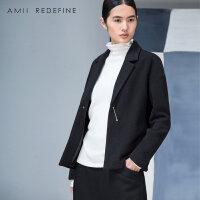 【到手价:120】[AMII东方极简] JII AMII冬装新品森系大码纯色休闲矮小个子羊毛呢外套女短款xs