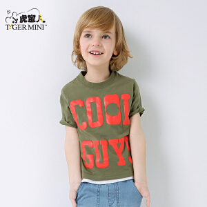 小虎宝儿童装男童纯棉短袖 T恤儿童半袖运动打底衫体恤2018夏新品