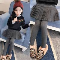女童打底裤加绒加厚大童冬装2018儿童洋气裤子外穿假两件百褶裙裤