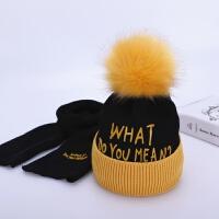 宝宝帽子冬季围巾两件套加绒保暖男童女童针织帽秋冬天儿童毛线帽 黄边加黑帽 硅胶WHAT套帽 均码