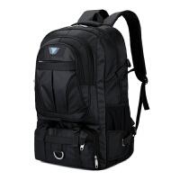 背包户外男70升多功能运动旅行包潮流时尚大容量行李包徒步双肩包 黑色 无隔层