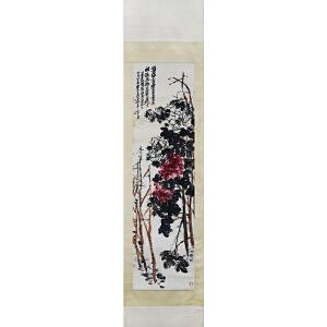 吴昌硕《牡丹图》红木轴头 G70