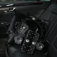 汽车头枕腰靠套装可爱镶钻车用护颈枕抱枕四季卡通创意女士车颈枕