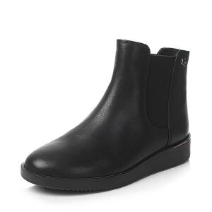 Teenmix/天美意2017冬牛皮星星铆钉平跟切尔西靴女短靴CBJ40DD7