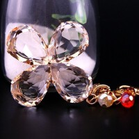 钥匙扣水晶幸运四叶草汽车挂件钥匙链创意情侣礼品包包挂饰 四叶草 金色彩珠